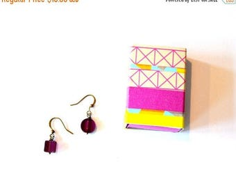 Gift Boxed Jewelry / Gift Boxed Earrings / Geometric Acrylic Dark Purple Asymmetrical Earrings in a Washi Tape Decorated Matchbox