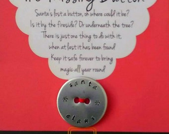 Handstamped Santa's Lost Button - Missing Button -Father Christmas - Christmas - Xmas - Festive  - Tradition - Button - Gift
