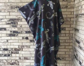 Plus Size Fleece Caftan Gecko Design
