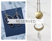 RESERVED listing for Laura, circles earrings and moon phases necklace