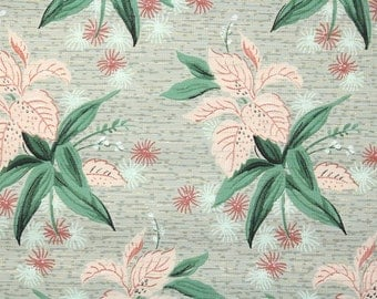 1950's Vintage Wallpaper - Pink and Green Leaves on Gray