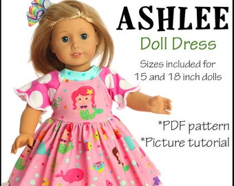 15 and 18 inch Ashlee Doll Clothes Sewing Pattern Dress Pattern PDF and tutorial