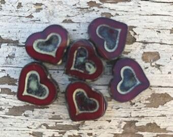 Picasso Czech Glass deep Red Heart beads 14 x 12mm - 6