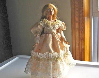 ON SALE Beige Barbie Dress with Gold Sparkles