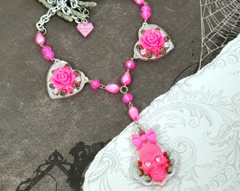 Neon Pink SUGAR SKULL and ROSES - Pink Skull Bow and Roses on Hearts Chandelier Pendant Necklace