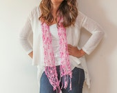 PIF Handknit Scarf Beautiful Tones of Rose Pink, White and Candy Pink - Ready to Ship