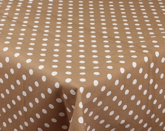 "SQUARE - Handmade Tablecloth - 68"" x 68"" - 170 cm x 170 cm  - POLKA DOTS on Beige"