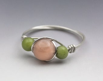 Sunstone & Nephrite Jade Sterling Silver Wire Wrapped Bead Ring - Made to Order, Ships Fast!