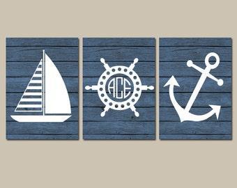 Anchor Sailboat Wall Art, CANVAS or Print, Ocean Bathroom Artwork, Nautical Monogram Initial, Wood Coastal Boy Nursery, Wheel Set of 3 Decor