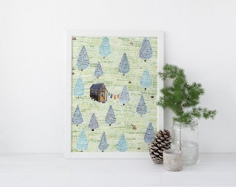 Tiny House Art Print / Watercolor / Art Print / Tiny House / Tiny house Gifts / Gifts for Her / Forest Art / Little House / Little House Art