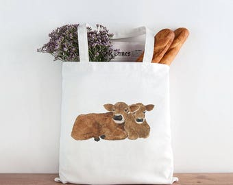 Cows Tote Bag / Canvas Tote Bag / Gifts for Her / Farmhouse Gifts / Gifts for Farmers / Homestead Gifts / Cows Market Bag / Calves Tote Bag
