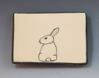 Handbuilt Ceramic Soap Dish with Rabbit
