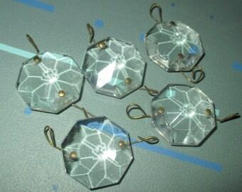 Vintage Octagon Shaped Chandelier Crystal Prism Pampille Lot of Five
