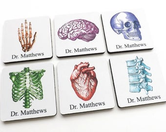 Custom Name Medical School Student Graduation Coasters anatomy gift doctor nurse practitioner physician assistant personalized party biology