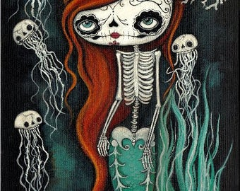 Sugar Skull Original Painting Cute Dead Mermaid Skeleton Wall Art  12 x 24