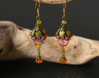 Spring flower beaded earrings