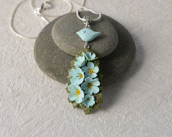 Forget-me-not bouquet and blue bird necklace