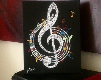 "Music notes 11""x14"" canvas black white blue yellow sheet music"