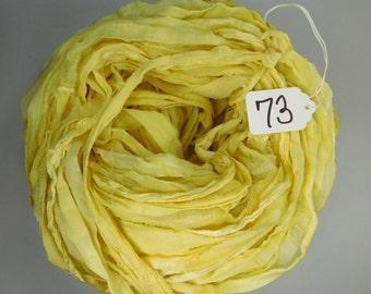 Sari Silk Ribbon, Silk Sari Ribbon, CHIFFON sari ribbon, Silk Chiffon Ribbon, yellow ribbon, tassel supply, weaving supply, knitting supply
