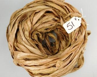 Silk Sari Ribbon, recycled sari ribbon, Sari Silk Ribbon, Sari ribbon, Fawn brown sari ribbon, tassel supply, knitting supply, rug supply