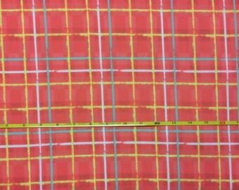 NEW Art Gallery Electric Watermelon Plaid on cotton Lycra  knit fabric 1 yard.