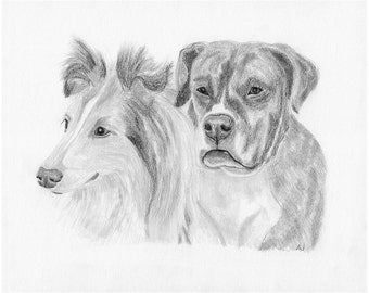 Pet Portrait, Custom Dog art, Sketch From Photo, Pencil Sketch, Personalized Pet Art, Pet Memorial, Dog Drawing, digital JPG file, Inklets