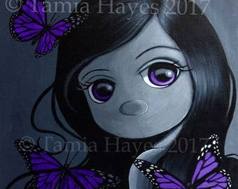 PRINT Acrylic Painting Butterflies Big Eye Lowbrow Art Violet Purple Black White Chicasol Tamia