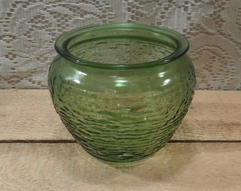 Vintage Anchor Hocking Sereno avocado green vase green flower bowl