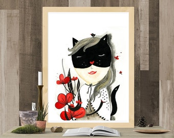 Cat Woman Mask, Superhero Illustration Wall Art, Cat Woman Painting, Cat Lady Gifts, Original Illustration