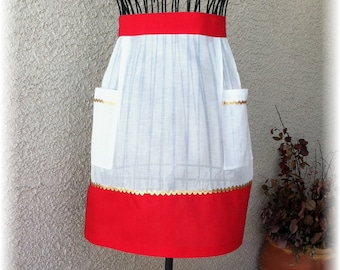 WHITE SHEER with RED Accent - Half Apron