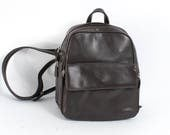 GRUNGE dark brown vegan leather 80s 90s BACKPACK mini UNISEX convertible knapsack