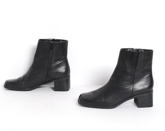 size 7.5 PLATFORM black leather 80s 90s CHELSEA CHUNKY zip up ankle boots