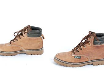 size 8 CANDIES tan leather 80s 90s HIKING TIMBERLAND style lace up ankle work boots