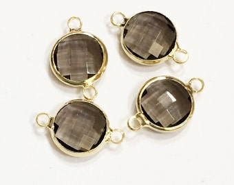 4 pcs of  Glass faceted round with  brass setting 16x10mm smoky , glass connector 1/1 loop gold tone brass setting