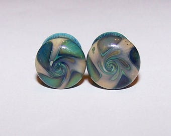 1 gauge pair of multi colored swirl design double flared glass plugs (755)