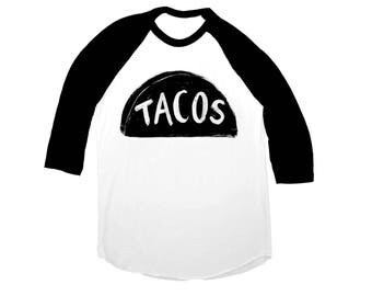 back to school shirt - Unisex Taco Shirt - Baseball Jersey - graphic tee - gift for men - funny gift for dad -  black white American Apparel