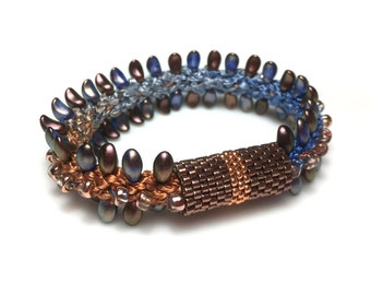 Copper River Kumihimo Bracelet - Beaded Braided Bracelet with Bead Edges and Central Bead Ridge - Round Braid with Flat Braid Look