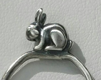 Bunny Rabbit Ring, Sterling Silver Bunny Ring, US Size 7, Stacking Ring, Critter Ring, Rabbit Jewelry, Easter Ring by Maggie McMane Designs