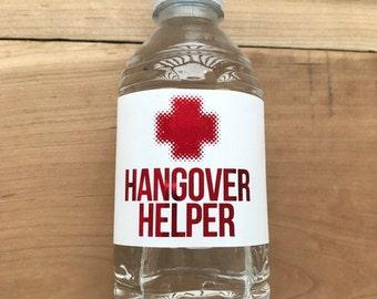 Gold Foil Waterproof Water Bottle Labels - Silver Foil Metallic Labels - Wedding Water Bottles - Party Drink Stickers - Hangover Helper