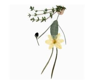 Dancing girl - Blank greeting card - Pressed flower art - Oshibana - Garden notecard - Crabapple, Thyme, Sage, Bleeding Heart, Curry