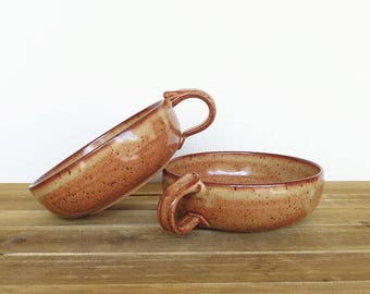 Stoneware Bowls with One Handle in Shino Glaze - Set of 2