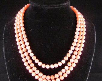 Vintage Angelskin Coral Multi Strand Necklace, Natural pink with carved flower clasp