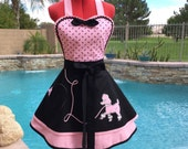 Pink Poodle Skirt Sassy Apron with Petticoat, Womens Misses, Plus Sizes, Pin Up Apron, Be-Bop Sock Hop, Sweetheart, Southern Belle, Kitchen