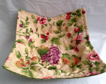 Fruit Floral  Print Bowl Potholder Cozy Large Microwave Hot Pad Fabric Bowl Stocking Stuffer Great For Hot Or Cold Food