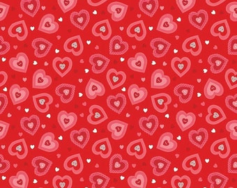 Kewpie Love- Hearts Red- Valentine Fabric- Quilt- Riley Blake- Penny Lane-Heart- Pink- Baby- Fabric- Sold by Full or Half Yard.