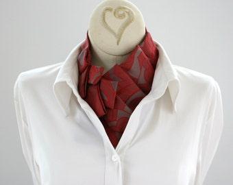 Ascot - Statement Necklace - Necktie Necklace - Womens Necktie - Memoriam Gift - Upcycled Tie - Gift For Mom - Work Wear - Red Floral 10.