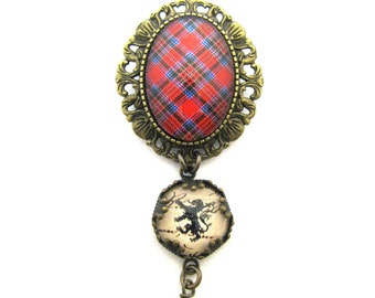 Scottish Tartan Jewelry - Ancient Romance MacBean Clan Tartan Thistle Frame Brooch Pendant w/Lion Rampant & Mystic Black Swarovski Crystal