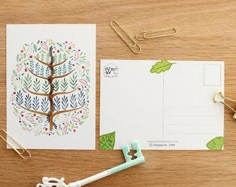 Espalier tree postcards - set of 4 . Topiary .