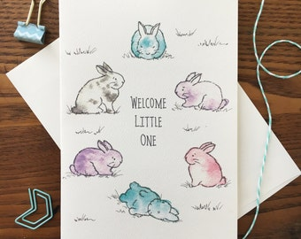 New Baby Card. Bunny Baby Card. Baby Shower Card. New Baby Card. Baby Bunny. Congratulations. New Baby Card. Welcome Baby card. Welcome Baby