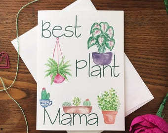 Plant Card. Plant Mama Card. Crazy Plant Lady. Plant Lover. Cactus Card. Succulent Card. House plant card. Blank card. For Gardener
